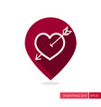 arrow heart icon love pin map icon vector image