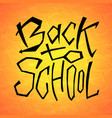 back to school text on orange backdrop lettering vector image