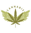 banner for marijuana with cannabis leaf and wings vector image vector image