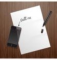 Blank white paper on wooden desk with mobile phone vector image vector image