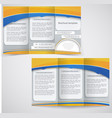 blue brochure layout design with yellow elements vector image vector image