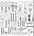 bolt nut and screw set vector image
