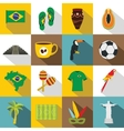 Brazil travel symbols icons set flat style vector image vector image