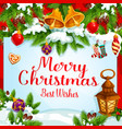 christmas tree and holly wreath greeting poster vector image vector image