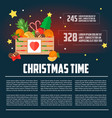 christmas wooden box with fruit and dessert infogr vector image