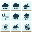 climate icons set with wind sleet temperature vector image