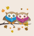 couple of owls with scarf on a fall day vector image vector image