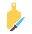 cutting board and knife halftone dotted icon vector image vector image
