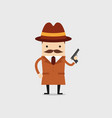 detective holds a gun in his hand vector image vector image