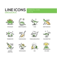 Dinosaurs species- line design icons set vector image