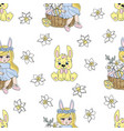 easter rabbit spring seamless vector image vector image
