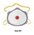 facial mask n99 respirator for covid19 protection vector image vector image