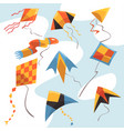 flat set of bright-colored kites flying vector image