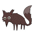 funny comic cartoon little wolf vector image