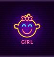 girl neon label vector image vector image
