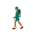 girl woman hiking backpack character vector image