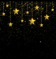 golden sparkling stars with golden confetti vector image