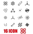 grey atom icon set vector image vector image