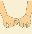 hand holding to pinky promise vector image vector image