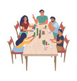happy family characters playing board game sitting vector image vector image