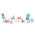 happy kids and parents having fun on outdoor vector image