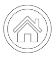 house pictogram inside circle icon vector image
