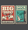 hunting retro posters wild animal and bird vector image vector image