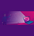 laptop interactive learning concept banner vector image vector image