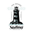 lighthouse sailing label or logo sea travel vector image vector image