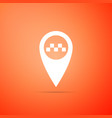 map pointer with taxi icon on orange background vector image