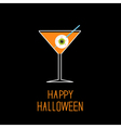 Martini glass with orange cocktail and eyeball vector image vector image