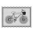 monochrome contour frame of bicycle with vector image vector image