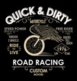 motorcycle biker fashion typography winged wheel vector image vector image