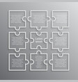 puzzle nine pieces square infographics 9 steps vector image