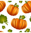realistic detailed 3d pumpkins seamless pattern vector image