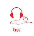 Red headphones and cord in shape of heart White vector image