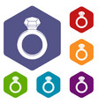 ring with gemstone icons set hexagon vector image vector image