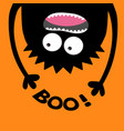 screaming monster head silhouette boo text two vector image