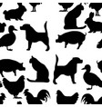 seamless pattern pets silhouette vector image vector image