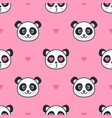 seamless pattern with panda bears and hearts vector image vector image