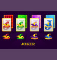 set four jokers playing cards suits for poker vector image vector image
