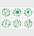 set of green eco banners with line icons vector image