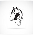 silhouette horse and girl on white vector image vector image