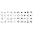 social media line icons set share network vector image vector image