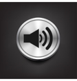 Speaker volume icon on silver button vector image vector image