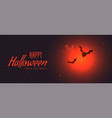 spooky halloween banner with red moon and flying vector image