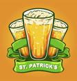 st patricks three glasses beer with ribbon vector image vector image