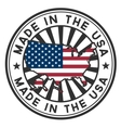 Stamp with map flag of the USA Made in the USA vector image vector image