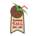 summer sale 50 off ribbon coconut juice backgroun vector image
