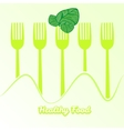 tableware set of fork with spinach vector image vector image